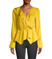 bcbgmaxazria women's wrapped peplum top - yellow - size xs