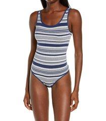 yummie ruby thong bodysuit, size medium in grey heath/blue stripe at nordstrom