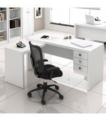 mesa para escritório 3 gavetas branco me4106 - tecno mobili