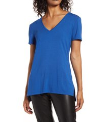 halogen(r) v-neck tunic t-shirt, size x-small in blue monaco at nordstrom