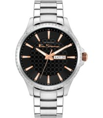 ben sherman men's classic silver-tone stainless steel watch, 43mm