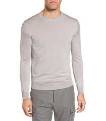 men's eleventy merino wool & silk tipped sweater, size 4x-large - beige