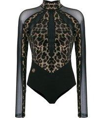 philipp plein leopard sheer bodysuit - black
