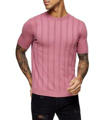 men's topman vertical stripe crewneck sweater, size large - pink