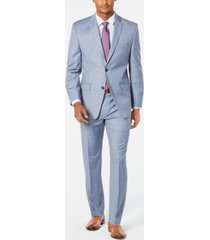 marc new york by andrew marc men's modern-fit stretch light blue windowpane sharkskin suit