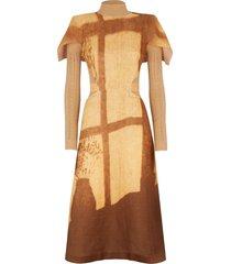 fendi layered open-knit midi dress - brown