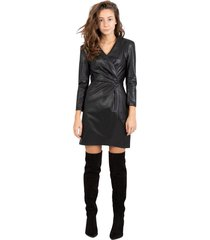 black mini dress in faux leather