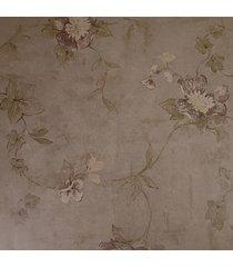 kit 2 rolos de papel de parede fwb lavável floral com fundo marrom