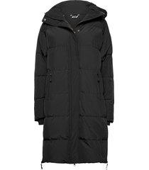 haugland down coat gevoerde lange jas zwart skogstad