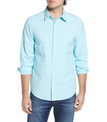 men's vineyard vines longshore slim fit chambray button-up shirt, size x-small - blue