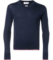 thom browne classic cashmere v-neck pullover - blue