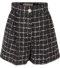 alessandra rich checked tweed boucle shorts