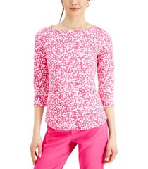 charter club cotton ditsy-floral top, created for macy's