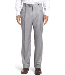 men's berle super 130s gabardine pleated trousers, size 35 x unhemmed - grey