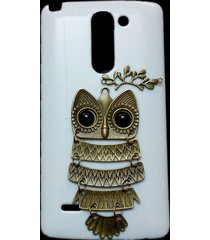 3d cute retro metal bronze owl branch hard back case cover for lg g3 stylus d690