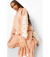 pantone oversized hoodie met zuurwassing, kameel