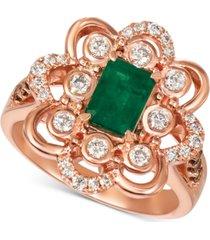le vian costa smeralda emerald (5/8 ct. t.w.) & diamond (5/8 ct. t.w.) ring in 14k rose gold