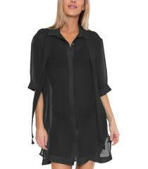 trina turk sicily scarf collar button up cover-up women's swimsuit