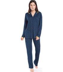 pijama feminino aberto marinho poá luz - tricae