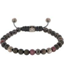 ruby and grey sapphire bead bracelet