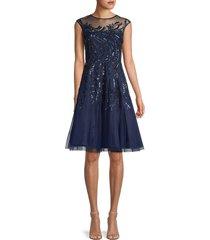 aidan mattox women's embellished cocktail dress - midnight - size 6