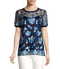 kay embroidered sheer blouse