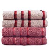 kit toalha de rosto 4 peças classic - toalhas appel - rosa cristal/rosa glamour