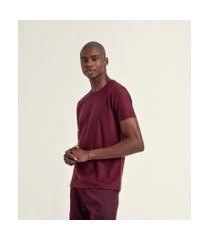 camiseta com listras maquinetadas em algodão peruano | request | bordo | m