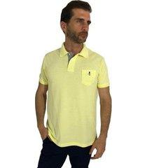 camisa polo mister fish slim basic com bolso masculina