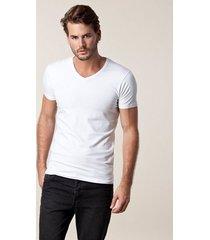 jack & jones jjebasic v-neck tee s/s noos t-shirts & linnen vit