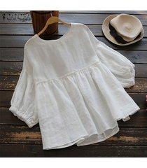 s-5xl zanzea camisa de manga de linterna para mujer tops cuello redondo casual blusa lisa plus -blanco