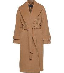 leticia coat wollen jas lange jas beige andiata