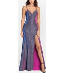 betsy & adam metallic strappy-back gown