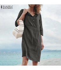 zanzea camisa de manga corta para mujer camisa de vestir botones cuello camiseta sólida vestido talla grande -gris oscuro