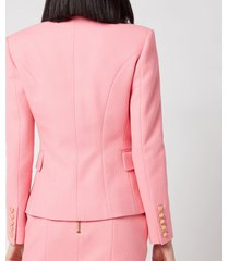 balmain women's 6 button cotton pique jacket - rose moyen - fr 40/uk 12