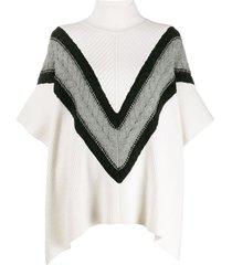 see by chloé chevron knit turtleneck cape jumper - white