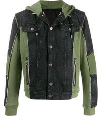 balmain panelled hooded jacket - green