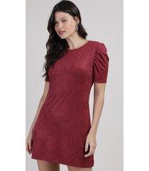 vestido de suede feminino curto manga bufante vinho