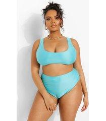 plus mix & match bikini top met vierkante hals, aqua