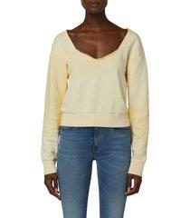women's hudson sweetheart cotton sweatshirt, size small - yellow