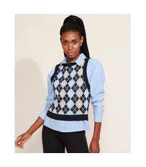 colete de tricô feminino mindset cropped com estampa xadrez argyle decote redondo azul escuro