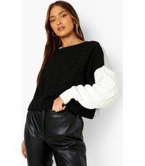 grof gebreide colour block trui, black