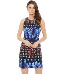 vestido desigual corto azul - calce ajustado