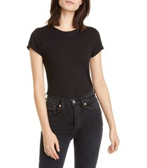 women's re/done 1960s slim tee bodysuit, size small - black