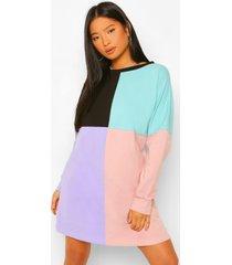 petite colour block sweatshirt jurk, pink