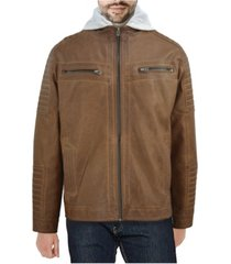 x-ray men's hooded faux-leather jacket