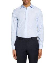 men's bonobos slim fit dot dress shirt, size 17 - blue