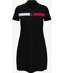 tommy hilfiger women's essential flag polo dress deep black - s