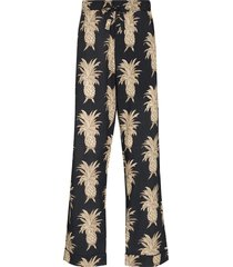 desmond & dempsey pineapple cotton pajama trousers - blue