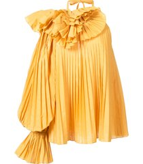 pleated one shoulder blouse